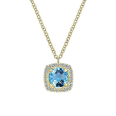 14K Yellow Gold Diamond Swiss Blue Topaz Fashion Necklace