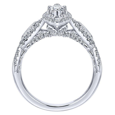 14k Designer DEF Marquise Moissanite & Diamond Halo Engagement Ring 1.13cttw