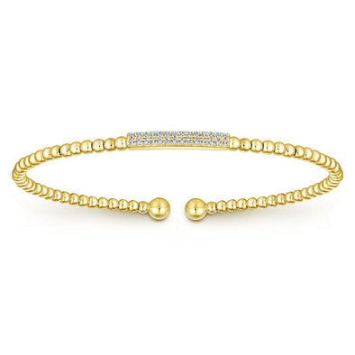 Gabriel NY 14k Yellow Gold Simplistic Diamond Bujukan Bangle
