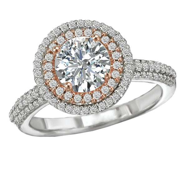 18k 2 Tone Designer DEF Moissanite & Diamond Double Halo Engagement Ring 1.47cts