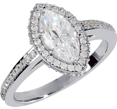 14K Contemporary Cathedral Halo Diamond Engagement Ring