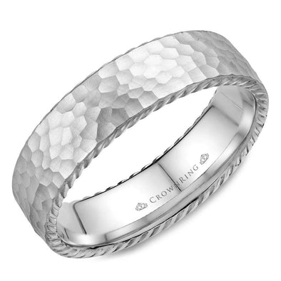 Gents 14K WG Wedding Band w/ Hammered Finish & Rope Detailing WB-004R6W (6mm)