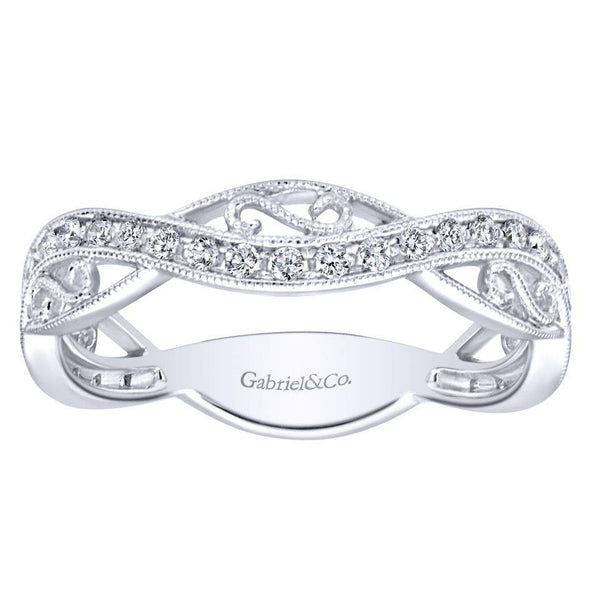 Gabriel NY 14k White Gold Ladies Filigree Pave Diamond Stackable Ring