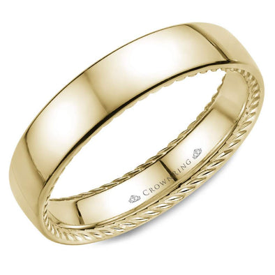 Gents 14K YG Wedding Band w/ Hidden Rope Detailing WB-012R5Y (5mm)