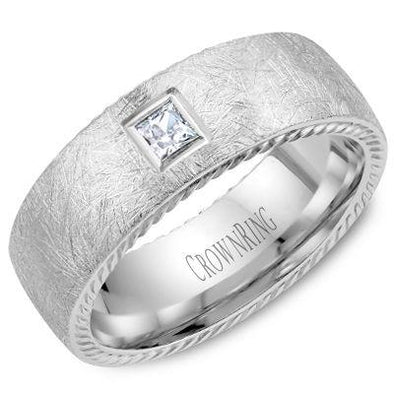 Gents 14K White Gold Wedding Band w/ Square Cut Diamond, Rope Edges & Diamond Brushed Finish WB-013RD8W (8mm)