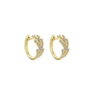 Gabriel NY 14k Yellow Gold Repeating Arrow Diamond Earrings