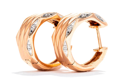 Adele Diamond 14K Rose Gold Earrings .06ctw Diamond Fashion Hoops 700-21794