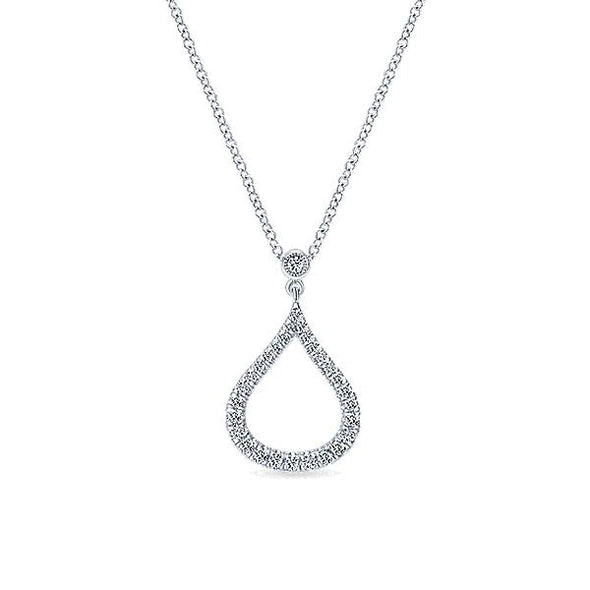 14K White Gold Diamond Pavé Droplet Fashion Necklace