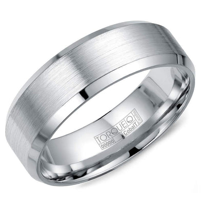 Gents White Cobalt Wedding Band w/ Brushed Finish & Beveled Edges CB-7146 (7mm)