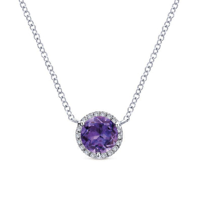 Gabriel NY 14k White Gold Ladies Amethyst with Diamond Halo Necklace