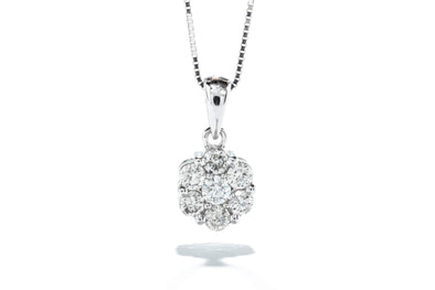 Adele Diamond 14K White Gold 0.33ctw Diamond Flower Necklace