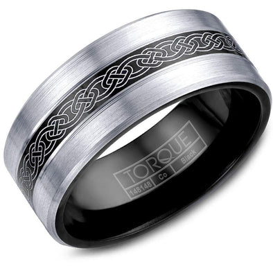 Gents Black & White Cobalt Wedding Band w/ Brushed White Cobalt Edges & Patterned Center CBB-0028-03 (9mm)