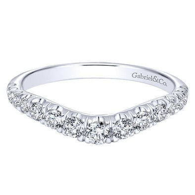 Ladies 14K White Gold Curved Diamond Anniversary Band