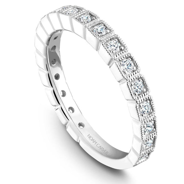 Noam Carver Platinum Stackable Ring - 19 Round Diamonds STB17-1WZ-D