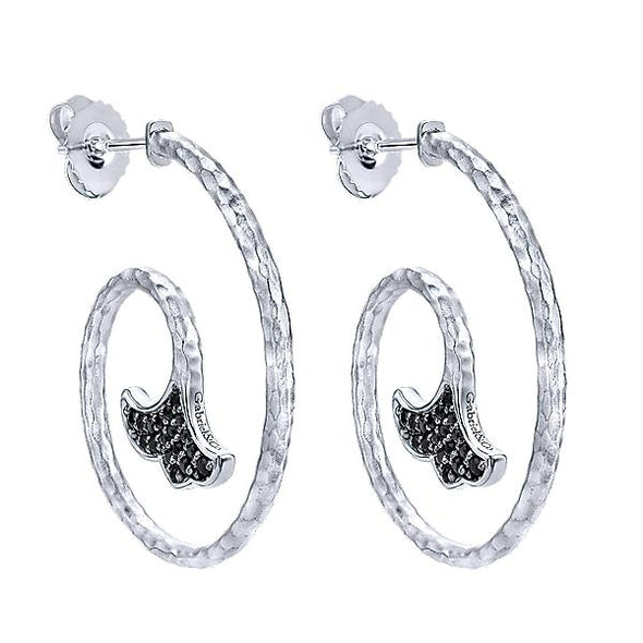 925 Silver Black Spinel Drop Earrings
