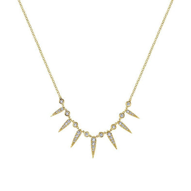 Gabriel NY 14k Yellow Gold Diamond Seven Spike Necklace