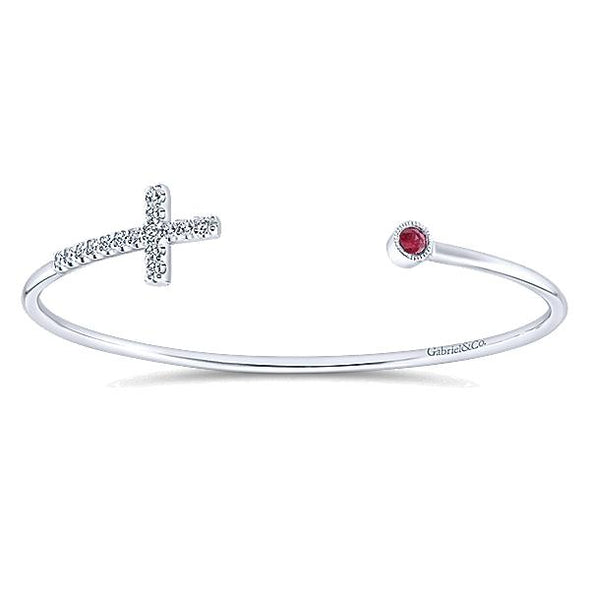 925 Silver Multi Color Stones Faith Bracelet