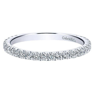 Gabriel NY Ladies 14K White Gold Pave Diamond Stackable Ladies Ring LR50992W45JJ