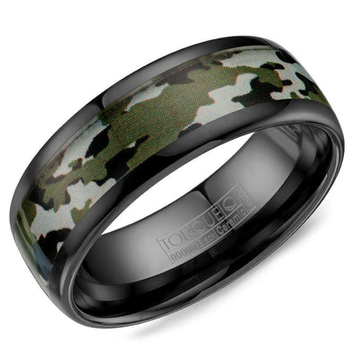 Torque Black Ceramic Ring with Camo Pattern Inlay 8mm