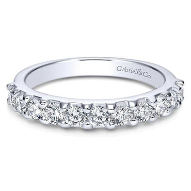 Ladies 14K White Gold Straight Diamond Anniversary Band