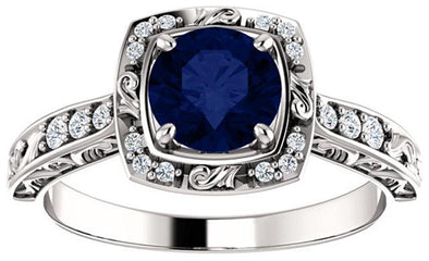 14K White Gold Vintage Diamond Halo and Blue Sapphire Engagement Ring