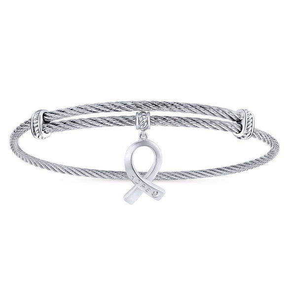 Gabriel NY 925 Silver/Stainless Steel White Sapphire Hope Ribbon Charm Bangle