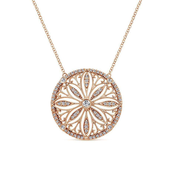 Gabriel NY 14k Rose Gold Ladies Victorian Diamond Ring Necklace
