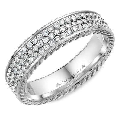 14K WG Wedding Band w/ 85 Round Diamonds & Rope Detailing WB-029RD5W (5mm)