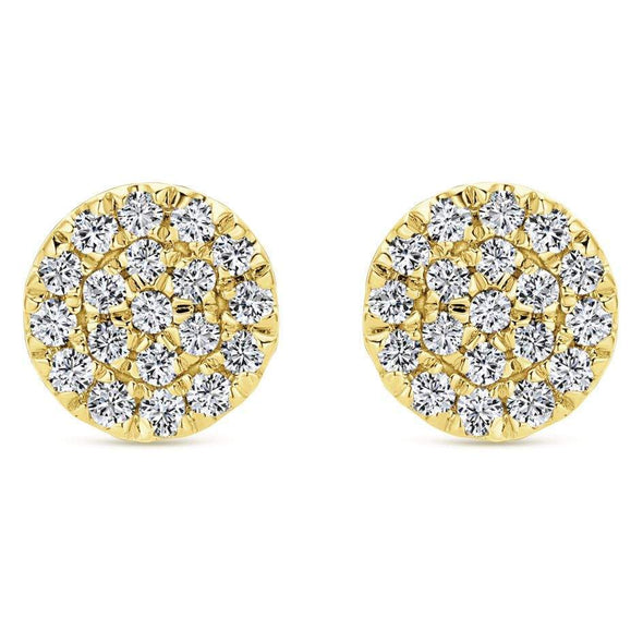 Gabriel NY 14k Yellow Gold Pave Diamond Halo Stud Earrings