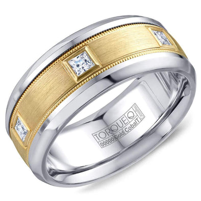 Gents Cobalt & Gold Wedding Band w/ Yellow Gold Inlay & Eight Diamonds CW090MY9 (7.5mm)