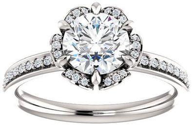 14K Floral Halo Nature Inspired Diamond Engagement Ring