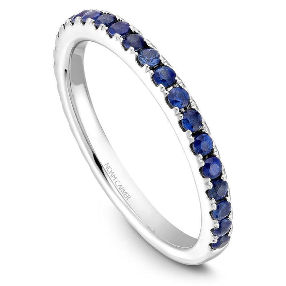 Noam Carver 14K Gold Stackable Ring - 24 Round Blue Sapphires STA3-1M-B