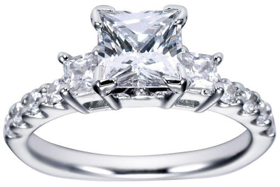 14K Contemporary Three Stone Princess Cut Diamond Engagement Ring