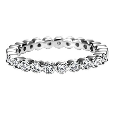 Ladies 14K White Gold Eternity Diamond Anniversary Band