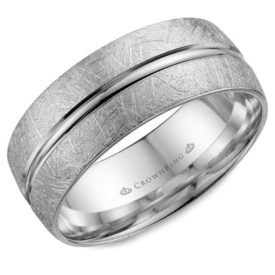 Gents 14K WG Wedding Band w/ Diamond Brushed Center & Line Detailing WB-7935 (8mm)