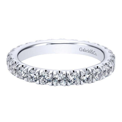 Ladies 14K White Gold Round Eternity Anniversary Band