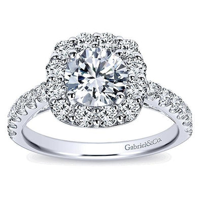 14K Contemporary Cathedral Diamond Halo Engagement Ring