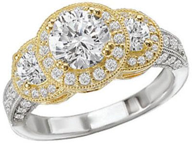 14K Vintage Two-Tone Three Stone Halo Diamond Engagement Ring