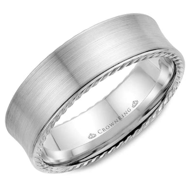Gents 14K WG Wedding Band w/ Brushed Finish & Rope Detailing WB-008R7W (7mm)