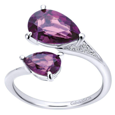 Gabriel NY 14k White Gold Ladies Amethyst Fashion Ring