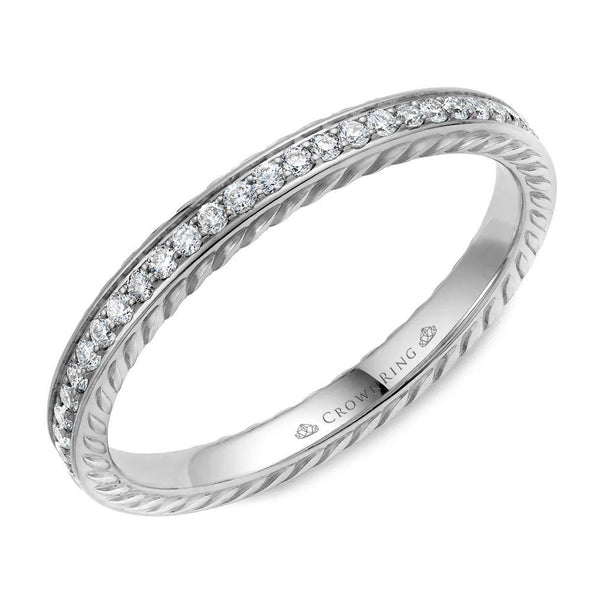 14K WG Wedding Band w/ 29 Round Diamonds & Rope Detailing WB-029RD25W (2.5mm)