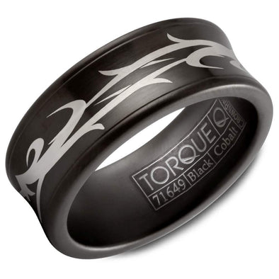 Gents Black Cobalt Wedding Band w/ An Engraved Design CBB-9002-49 (9mm)
