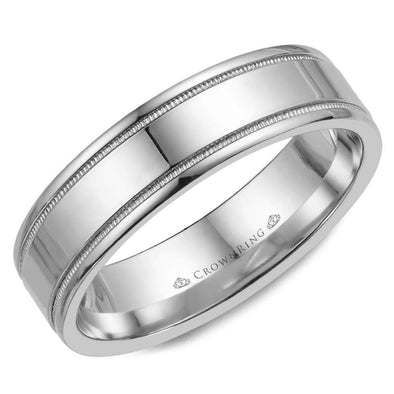 Gents 14K WG Wedding Band w/ Polished Finish & Milgrain Detailing WB-6901 (6mm)