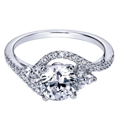 14K Contemporary Bypass Halo Diamond Engagement Ring