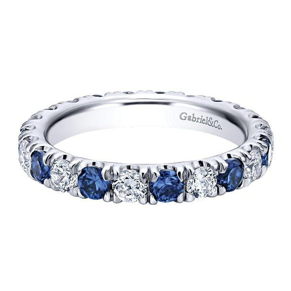 Ladies 14K White Gold Diamond and Sapphire Eternity Anniversary Band
