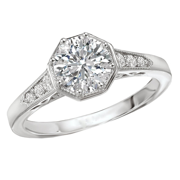 18k Designer DEF Round Moissanite & Diamond Art Deco Engagement Ring NEW 1.12cts