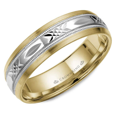 Gents 14K White & YG Wedding Band w/ Patterned WG Center WB-7000 (6mm)