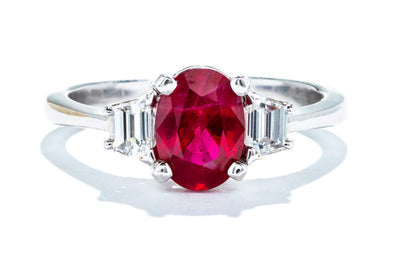 Adele Diamond 18K White Gold .35ctw Diamond & 1.30CT Ruby 3-Stone Fashion Ring