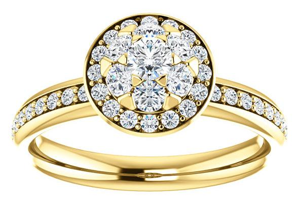 14K Yellow Gold Floral Vintage Cluster Halo Diamond Engagement Ring