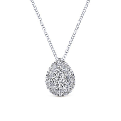 Gabriel NY 14k White Gold Ladies Cluster Diamond Pave Halo Necklace